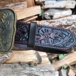 Resistol Dark Brown Tooled Western Belt